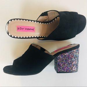 Betsey Johnson Glittered Slip-on heels Size 8
